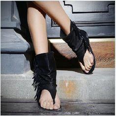Nuevo 2015 marca diseño mujeres del verano sandalias planas de la borla de cuero sandalias botas zapatos para mujeres más el tamaño(China (Mainland))