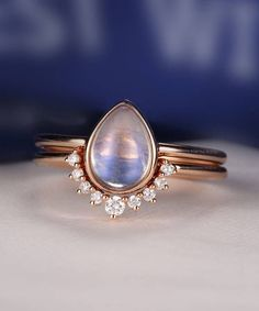 Moonstone Engagement Ring Set Pear wedding ring set Curved