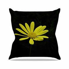 KESS InHouse NN1034AOP03 18 x 18-Inch 'Nick Nareshni Yellow Petal Daisy Floral Photography' Outdoor Throw Cushion - Multi-Colour