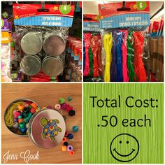 Operation Christmas Child DIY Bead Kits - Made from Dollar Tree tins, lacing cord and pony beads.