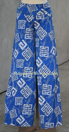 Look for Wide leg pants that are modest and fashionable at Hayaa Clothing Wide Leg Palazzo Pants, Wide Leg Pants, Patterned Shorts, Casual Pants, Going Out, Pajama Pants, Greek Key, Clothing, Blue