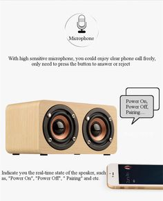W5 Dual Speaker AUX-in TF Card Voice Prompt HIFI Wooden Bluetooth Speaker With Mic
