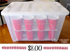 Cheap and easy Christmas organizer! Make your own Christmas ornament storage box with plastic solo cups, a glue gun and some cardboard! Large Christmas Ornaments, Simple Christmas, All Things Christmas, Christmas Decorations, Diy Christmas Ornament Storage, Diy Ornaments, Christmas Storage Boxes, Christmas Balls, Handmade Christmas