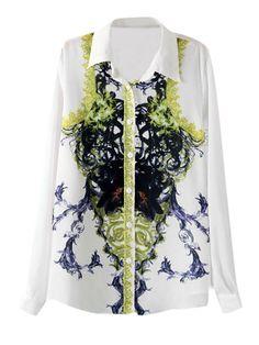 Nice Trendy Women's Lapel Long Sleeve Printed Chiffon Blouse
