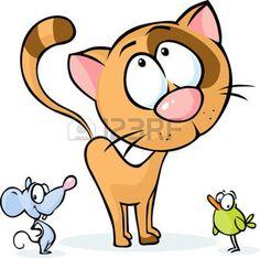 Cute vector Tier - Katze, Maus und Vogel-Cartoon