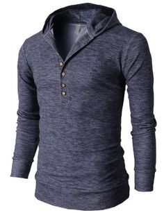 H2H Mens Casual Slim Fit Hooded Henley T-shirts with Button Pointed