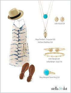 Summer outfit with pop of turquoise. Shop accessories at www.stelladot.com/angelynhorrell