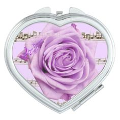 Purple Rose & Music Heart Compact Mirror by MoonDreams Music #heart #compactmirror #silver #purple #rose #music #moondreamsmusic