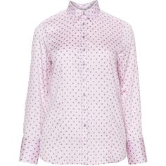Eterna Pink / Grey Plus Size Polka dot cotton shirt ($68) ❤ liked on Polyvore featuring tops, blouses, pink, plus size, pink blouse, plus size collared shirts, plus size womens shirts, gray long sleeve shirt and women's plus size blouses