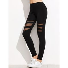 SheIn(sheinside) Black Mesh Insert Leggings (540 RUB) ❤ liked on Polyvore featuring pants, leggings, bottoms, jeans, black, stretchy pants, mesh insert leggings, legging pants, stretch pants and stretch trousers