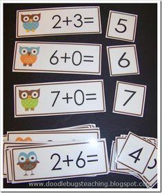 Great idea for math station to start the year - make flash cards with clip art incorporating class theme Owl Theme Classroom, Math Classroom, Kindergarten Math, Kindergarten Addition, Teaching First Grade, 1st Grade Math, Teaching Math, Math Stations, Math Centers