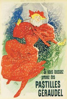 1896 Géraudel cough pills, French vintage advert poster