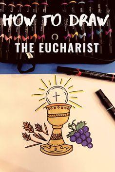 Catholic How To Draw: The Eucharist Catholic Icing, Catholic Bible, Catholic Crafts, Catholic Kids, Catholic Prayers, Catholic Communion, First Holy Communion, Feast Of Corpus Christi, 2nd Grade Class