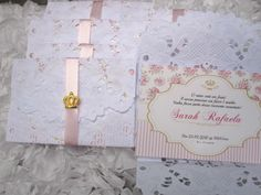 convite princesa c/envelope rendado