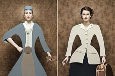 Dame di Cartone, Cardboard Ladies, is a series of portraits where women mimic 17th Century, cubist, and fifties fashions - only they're wearing dresses made of cardboard and paper instead of fabric! Swiss-Italian photographer Christian Tagliavini takes complete control of the entire creative process