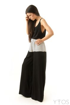 'Electra' Black & White High Waisted Wide Trousers