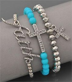 Western Jewelry Product | FAITH CROSS BLING RHINESTONE BLUE WESTERN JEWELRY BRACELET