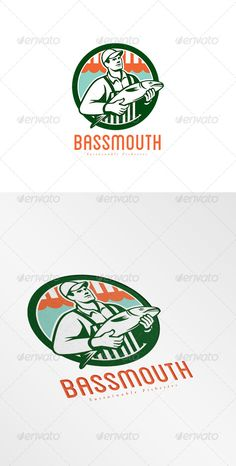 Bassmouth Sustainable Fisheries Logo — Vector EPS #holding #man • Available here → https://graphicriver.net/item/bassmouth-sustainable-fisheries-logo/8609181?ref=pxcr