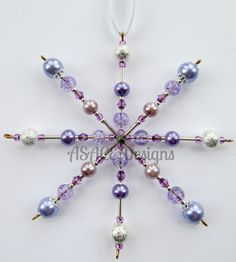 Lilac Beaded Wire Snowflake Christmas Hanging by ASACEDesigns