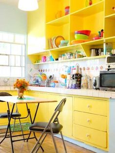 Colorful Kitchen Cabinets. If you are renting, this my be your best option, but first talk to the landlord. I did and they look so much better.
