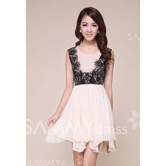$13.62 Ladylike Scoop Neck Lace Splicing Irregular Hem Chiffon Dress For Women