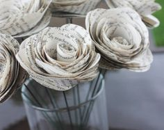 Rustic Book Page Paper Flowers - Wedding Decor - Vintage - Bridal Shower - Bridesmaids - Just Because Gift - Party - Re Purposed