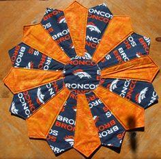 Denver BRONCOS Football Tabletopper / Quilted Centerpiece by CraftsJustForYou1 on Etsy