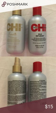 CHI Silk Infusion + Keratin Leave-In Conditioner Included here is a 6 fl oz bottle of CHI Silk Infusion and a 6 fl oz bottle of CHI Keratin Leave-In Conditioner. They are both brand-new. If you have any questions, please ask! Other