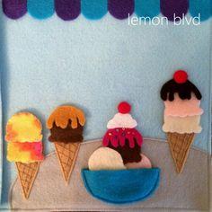 Ice Cream Sundae and Cones - Quiet Book Page - lemon blvd