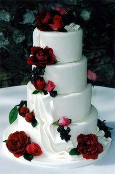 """""""waterfall/wave"""" effect?  Wedding, Cake, Red, Beaux gateaux celebration cakes"""