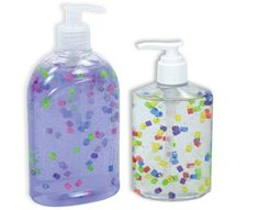 Add Perler Beads to liquid soap to make it colorful.  I hope they don't clog the pump!