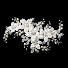 Silver Ivory Freshwater Pearl & Rhinestone Flower Hair Clip