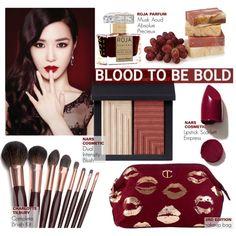 Blood to be Bold by nindi-wijaya on Polyvore featuring косметика, NARS Cosmetics, Roja Parfums, Charlotte Tilbury and IPKN