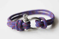 Bow Shackle Nautical Bracelet Purple by AllBeta on Etsy