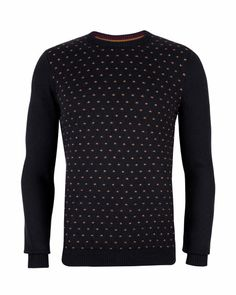 PIPTOP - Patterned jumper - Navy | Men's | Ted Baker UK