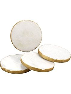 Thirstystone Round White Marble/Gold Edged Coasters (Set of 4), Multicolor ❤ Thirstystone