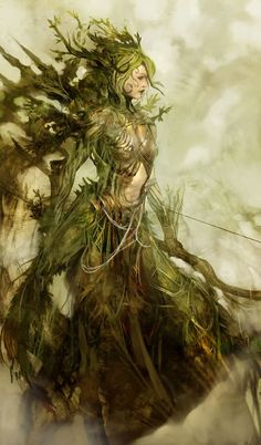 Female dryad archer- love this one... imagine a dryad archer, who better to shoot arrows?