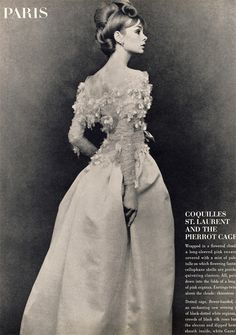 "Jean Shrimpton ""wrapped in a flowered cloud"" in the form of a dress by Yves Saint Laurent."