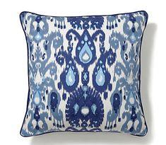 Blue Ikat Pillow Cover
