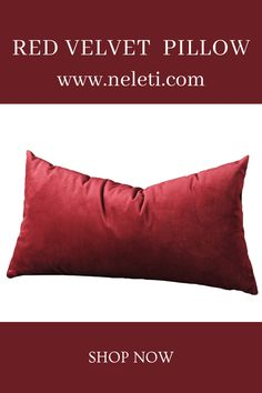 Lumbar Pillow-Red Velvet Pillow Handmade Cushion Covers, Handmade Cushions, Decorative Pillow Covers, Throw Pillow Covers, Lumbar Pillow, Bed Pillows, How To Make Pillows, Velvet Cushions, Boho Decor