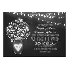mason jar chalkboard string lights save the date paper invitation card Chalkboard Wedding Invitations, Engagement Party Invitations, Save The Date Invitations, Save The Date Postcards, Wedding Invitation Design, Save The Date Cards, Dinner Invitations, Invites Wedding, Wedding Suite