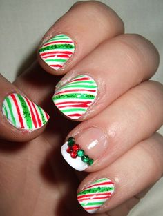 Candy cane christmas nails.