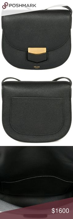 Celine Trotteur Small Black Grained Leather Phoebe Philo Collection. Black grained calfskin Celine Small Trotteur bag with gold-tone hardware single flat shoulder strap single slit pocket at back stamped logo at front face tonal leather lining single slit pocket at interior wall and fold-in flap closure at front. Includes dust bag. SKU: CEL-HBAG-TROTTEUR-GRAIN-BLK-S Celine Bags Shoulder Bags