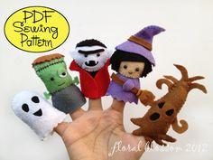Digital Pattern: Halloween Friends 02 Felt Finger Puppets by FloralBlossom on Etsy https://www.etsy.com/uk/listing/106160734/digital-pattern-halloween-friends-02