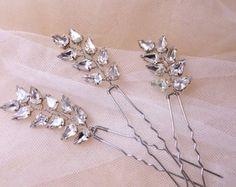 Set of 2 Bridal Hair pins Rhinestone hair от MagicBluebellDesigns