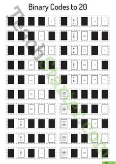 Binary Codes to 20 Worksheet Teaching Resource