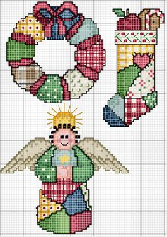 Cross-stitch Patchwork Christmas... no color chart available, just use pattern chart as your color guide.. or choose your own colors...