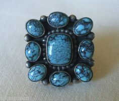 Vintage NAVAJO Sterling Silver & SpiderWeb TURQUOISE Cluster RING Tribal size 6