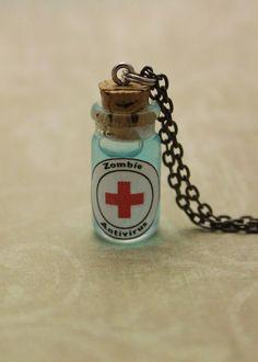 Glass Vial Necklace, Zombie Antivirus