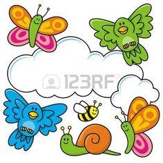 csiga%3A+A+spring+scene+with+baby+animal+cartoons%2C+butterflies%2C+birds%2C+bee+and+a+snail.